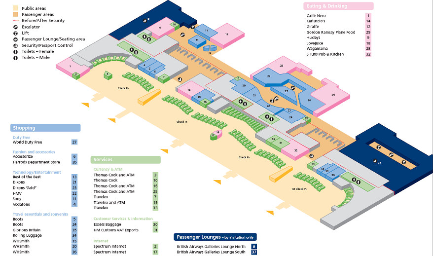 Heathrow airport terminal 5 map layout terminal 5 layout sciox Choice Image